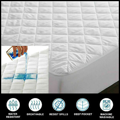 £14.49 • Buy 100% Cotton Waterproof Mattress Protectors Pad Toppers 40cm Extra Deep All Sizes