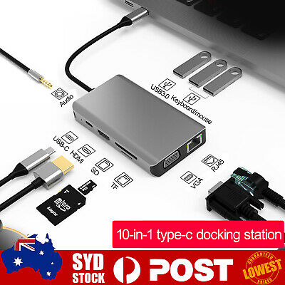 AU39.96 • Buy 10 In 1 USB-C Type C HD Output 4K HDMI USB 3.0 Adapter HUB For MacBook Pro  *