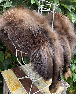 £14.99 • Buy Vintage Real Brown Fur Stole With Paws Some TLC To The Paw Mink