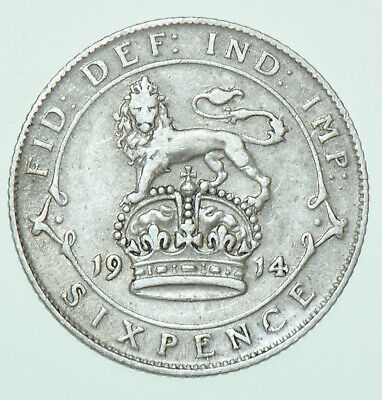 £5.50 • Buy 1914 George V Sixpence, British Silver Coin Vf
