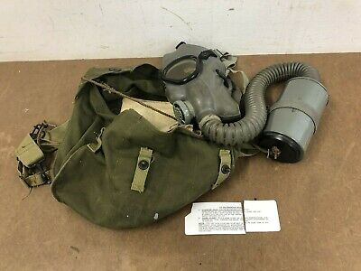 £36.36 • Buy Vintage Gas Mask W Canister Canvas Bag WWII Service Emergency US Military