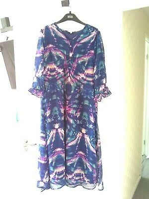 £8 • Buy Ladies Blue Multi Long Sleeve Midi Dress Size 16 By Penny Plain With Neck Scarf