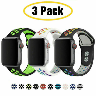 AU15.99 • Buy 3 PACK Silicone Sport Band Strap Fit Apple Watch 6 5 4 3 2  SE IWatch 38 40 42mm