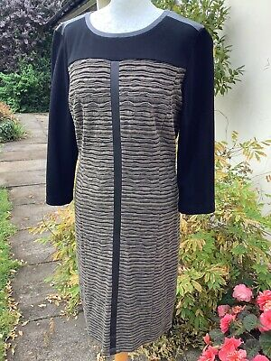 £12.99 • Buy Gerry Weber Stretch Fit Rippled Contrast Shift Dress~faux Leather Trim~size 14