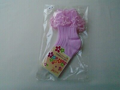 £3.75 • Buy Girls Bridesmaid Holy Communion Organza Frill Pink Ribbed Ankle Socks 1-3 New