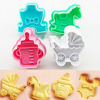 £5.09 • Buy 4Pcs 3D Baby Cookie Biscuit Plunger Cutter Mould Fondant Cake Mold Baking SetYJ