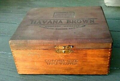 £6.51 • Buy Vintage Havana Brown Cigar Box,  Dove Tailed With Brass Hinges And Latch