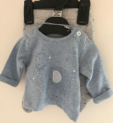 £10 • Buy Mothercare Tiny Baby ~ 5 Lbs~ Grey Bottoms & Blue Long Sleeved Top Outfit