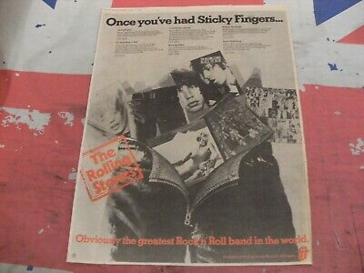 """£0.99 • Buy ROLLING STONES """"Sticky Fingers + More  1977 Original IN COLOUR MM ADVERT/POSTER"""