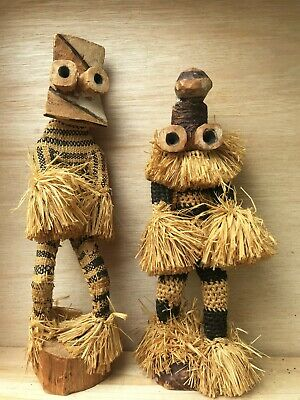£15 • Buy Two Carved Wood And Straw African Figures
