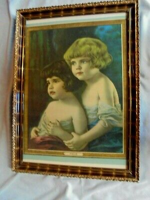 £108.93 • Buy R. Atkinson Fox, Two Young Girls,  Pals , Large Framed Calendar Print 1920s