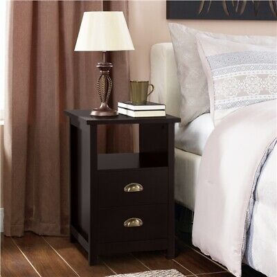 £78.69 • Buy Bedside Cabinet Table With 2 Drawers & Shelf, Wood Side Table End Table Espresso