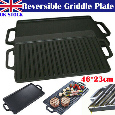 £17.99 • Buy 46x23cm Reversible Cast Iron Griddle Plate Non Stick Grill BBQ Frying Skillet UK