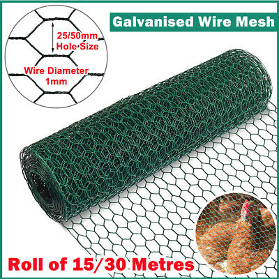 £39.99 • Buy 25/50M Long PVC Coated Green Wire Mesh Chicken Fencing Aviary Rabbit Fence Hutch