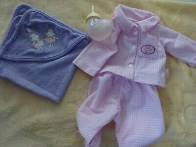 £12 • Buy Baby Annabell Pink Check Pyjamas Hoodie Towel Cloth And Bottle Lid Comes Off 18i