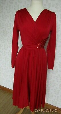 £26 • Buy Vintage After Six By Ronald Joyce 1980s Draped/Embellished Red Dress Size 10