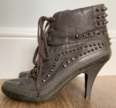 £35 • Buy ASN Women's Soft Leather Heel Boots Studded Steampunk Glam Rock Chic Size 6.5