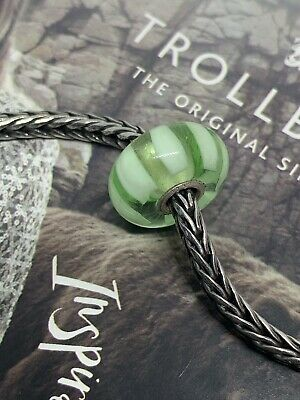 £7.99 • Buy Trollbeads Retired Green Stripe Glass And Silver Bead.