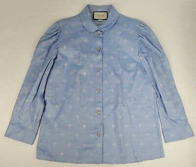 AU427.28 • Buy Gucci Women's Sky Blue Cotton Embroidered Bees And Stars Shirt Sz 48 498635 4890