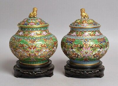£25 • Buy A Very Fine Pair Of Vintage Heavy Chinese Cloisonne Bronze Vases On Stands