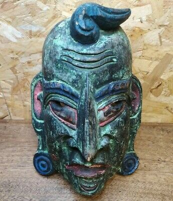 £35 • Buy African Wooden Hand Carved Tribal Mask Green Wall Hanging