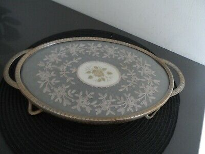 £10.99 • Buy Vintage  Oval Embroidered Vanity/ Dressing Table Tray