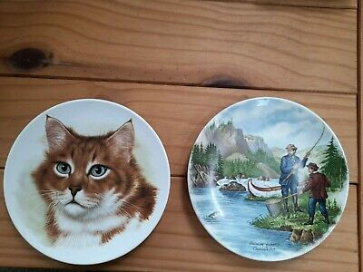 £7.99 • Buy Two Poole Pottery England 6  Plates Salmon Fishing And Cat Plate