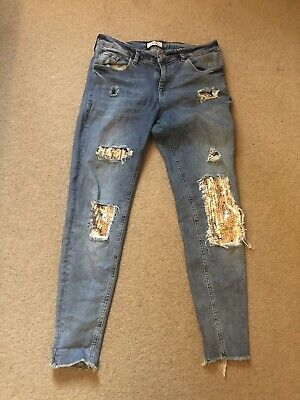 £12 • Buy Women's River Island Sequin Ripped Jeans Size 12R