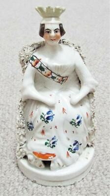 £39.99 • Buy Young Queen Victoria Antique Staffordshire Pottery Figurine Flatback C1850