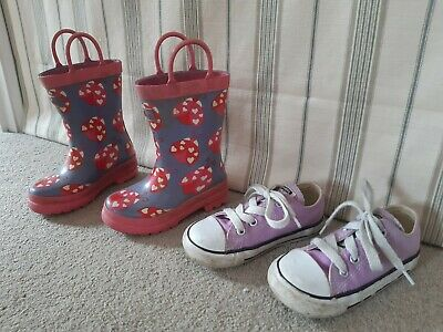 £12.99 • Buy Bundle Hadley Ladybird Wellies & Converse Lilac All Stars Trainers Shoes Uk 6