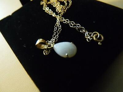 £40 • Buy 9ct Gold  White Opal  Tear Drop  Pendant  With 16  Trace Chain