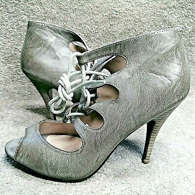 £16 • Buy Grey Strappy Lace Up Stiletto Heel Shoes Boots Peep Toe RED HERRING UK Size 7