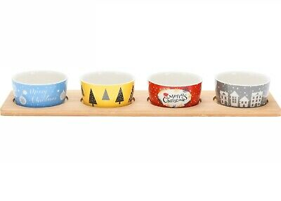 £15.49 • Buy Christmas Serving Dish Xmas Design Set Of 4 Ceramic Snack Bowl With Wooden Tray