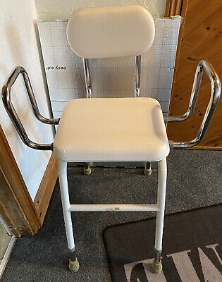 £15 • Buy Shower Stool/chair - Adjustable Height Cushioned With Arms Mobility Bath Aid