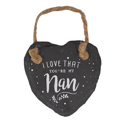 £3.99 • Buy I Love That You're My Nan Mini Heart Shaped Hanging Slate Plaque With Rope
