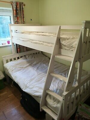£46 • Buy Oxford Triple Bunk Bed In White - Single Bed And Double Bed Mattresses Included