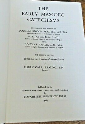 £1.50 • Buy 1963 The Early Masonic Catechisms Book (43)