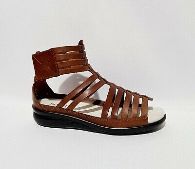£34.99 • Buy Hotter Livia Tan Brown Leather Sandals UK 6 EXF Wide Gladiator Strappy Comfort C