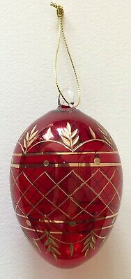 £7.27 • Buy VINTAGE Hand Blown RUSSIAN STYLE CUT Glass Egg RED &GOLD CHRISTMAS TREE Ornament