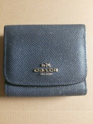 £13.30 • Buy New £75 Coach Leather Small Tri-Fold Wallet Purse Crossgrain Leather Navy GC