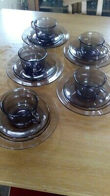 £12 • Buy Vintage Arcoroc France Set Of 5 Smoked Glass Cups,saucers And Tea Plates