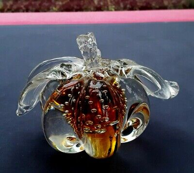 £14.75 • Buy Murano Paperweight Controlled Bubble Amber/clear Fruit  Mid Century Modern