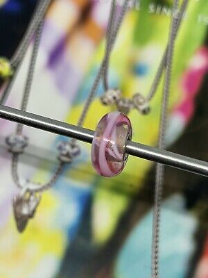 £7.99 • Buy Trollbeads Retired Pink Ribbon Glass And Silver Bead.