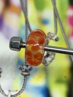 £9.99 • Buy Trollbeads Retired Coral Flower Glass And Silver Bead.