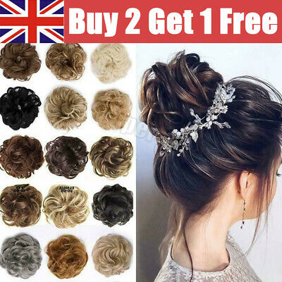 £2.77 • Buy Curly Messy Hair Bun Piece Updo Scrunchie Bobble Hair Extensions Fake Natural UK
