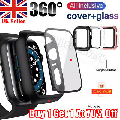 £2.49 • Buy Tempered Glass Screen Protector Case Cover For IWatch Apple Watch SE 6 5 4 40 44