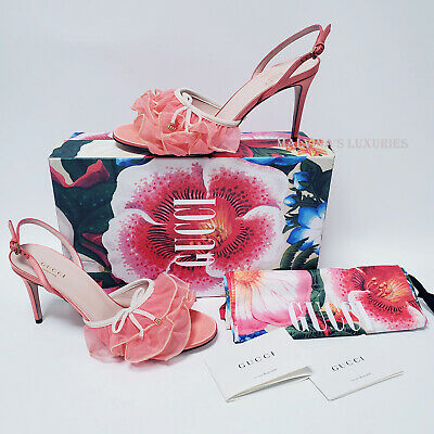 AU412.61 • Buy Gucci Shoes Pink Ruffle Tulle G Logo Charm Slingback Sandals $980 It 39.5 Us 9.5