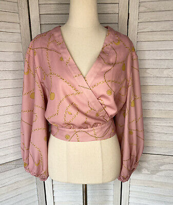 AU26 • Buy Finders Keepers Pink Balloon Sleeve Cropped Blouse Size 10