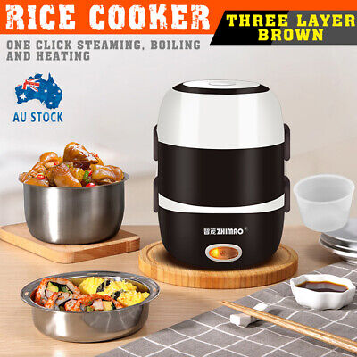 AU29.59 • Buy AU 3 Layer Portable Electric Lunch Box Rice Cooker Stainless Steamer Pot