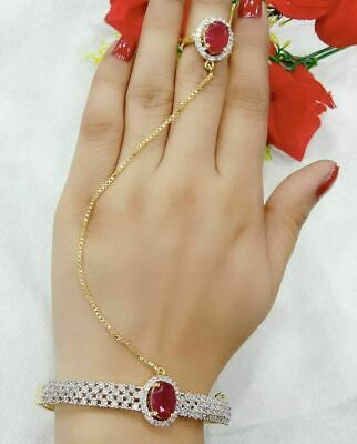 £14.56 • Buy Indian AD Gold Plated Stone Red Bracelet With Ring Adjustable Fashion Jewelry